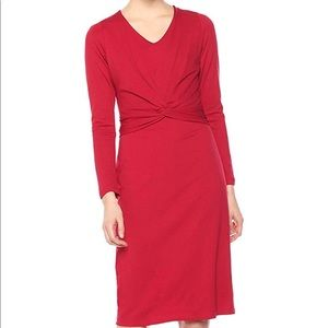 Ann Taylor Red Crepe Midi Dress Size Small